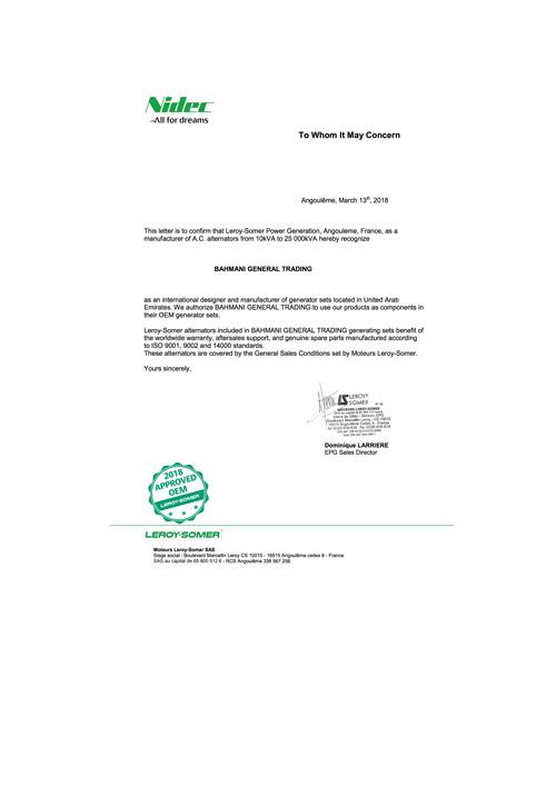 Leroy Somer OEM Certificate