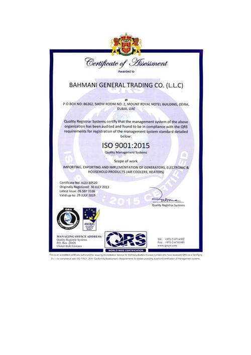 Bahmani GT ISO 9001-2015
