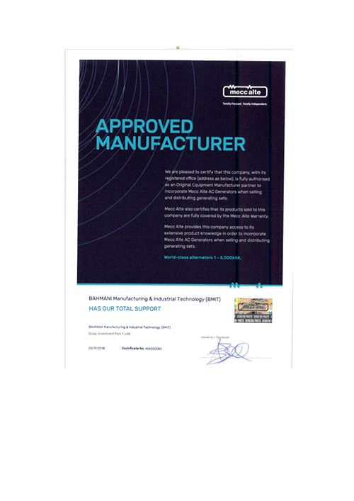 Approved Manufacturer